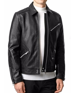 Leather Harrington Jacket by Topman in Chelsea
