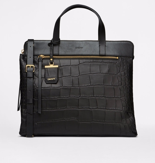 Croc-Embossed Large Satchel Bag by DKNY in The Good Wife - Season 7 Episode 19