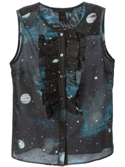Stargazer Ruffled Bib Sleeveless Shirt by Marc By Marc Jacobs in Black-ish