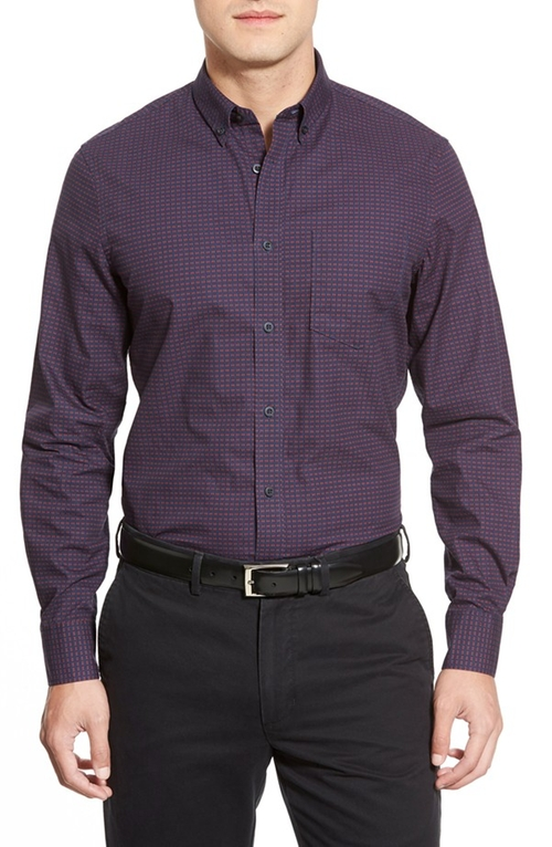 Trim Fit Long Sleeve Diamond Print Sport Shirt by Nordstrom in Scarface