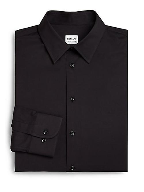 Solid Cotton Dress Shirt by Armani Collezioni in Get On Up