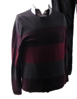 Men's Merino Striped Crew-Neck Sweater by Calvin Klein in Love the Coopers