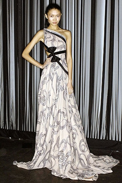 Fall 2007 One-Shoulder Printed Gown by Marchesa in Gossip Girl