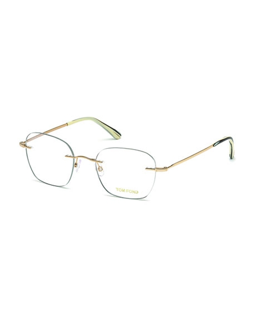 Shiny Metal Wood Effect Eyeglasses by Tom Ford in By the Sea