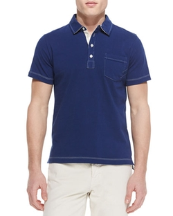 Contrast-Topstitching Polo Shirt by Billy Reid in Flaked