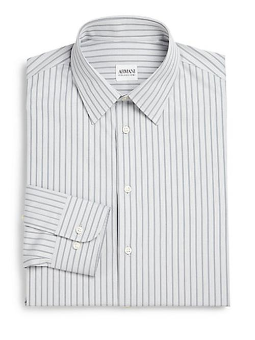Striped Cotton Dress Shirt by Armani Collezioni in Yves Saint Laurent