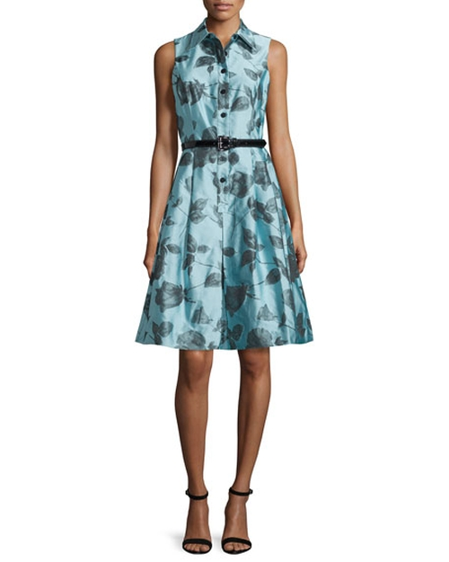Sleeveless Belted Floral Shirtdress by Rickie Freeman for Teri Jon in Me Before You
