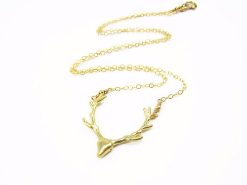 Gold Deer Necklace by Sienna Grace Jewelry in Pretty Little Liars - Season 7 Episode 2