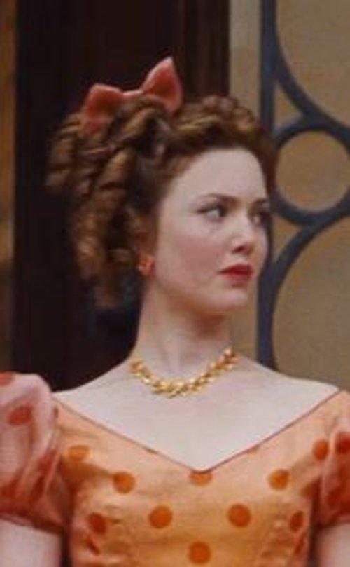 Custom Made Orange Floral Earrings (Anastasia) by Sandy Powell (Costume Designer) in Cinderella
