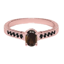 Oval Brown SmokyDiamond Plated Silver Ring by Gem Stone King in Scream Queens
