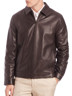 Leather Bomber Jacket by Saks Fifth Avenue Collection in John Wick