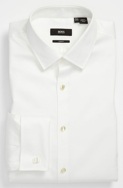 'Jameson' Slim Fit Diamond Weave French Cuff Tuxedo Shirt by Boss in Spotlight