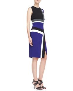 Sleeveless Colorblock Insert Sheath Dress by J. Mendel in Supergirl