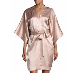 Contrast-Trimmed Silk Kimono Robe by Neiman Marcus in Billions