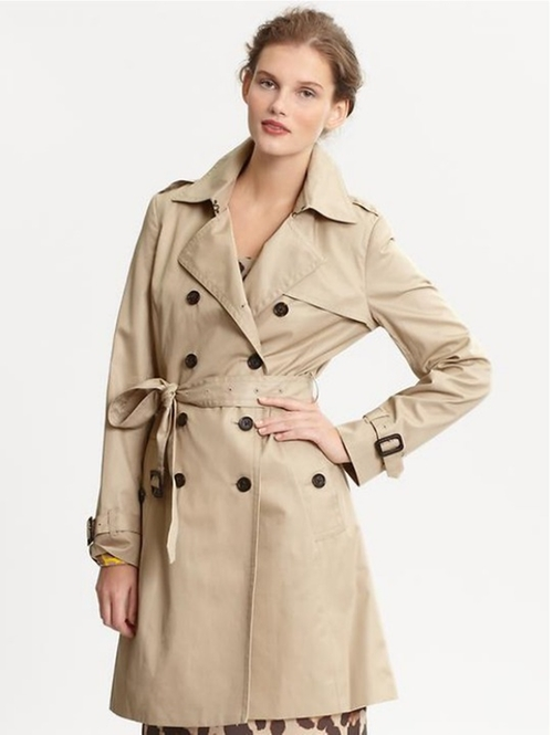 Classic Beige Trench Coat  by Banana Republic in Demolition
