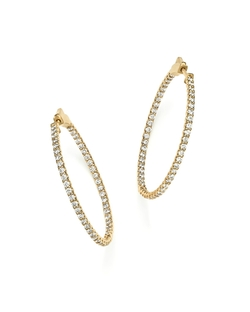 Diamond Inside Out Hoop Earrings In 14k Yellow Gold by Bloomingdale's in Suicide Squad