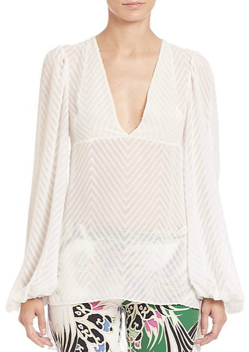 Chevron Sheer Hi-Lo Blouse by Just Cavalli in Wanted