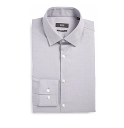 Sharp Fit Solid Dress Shirt by Boss in Jason Bourne