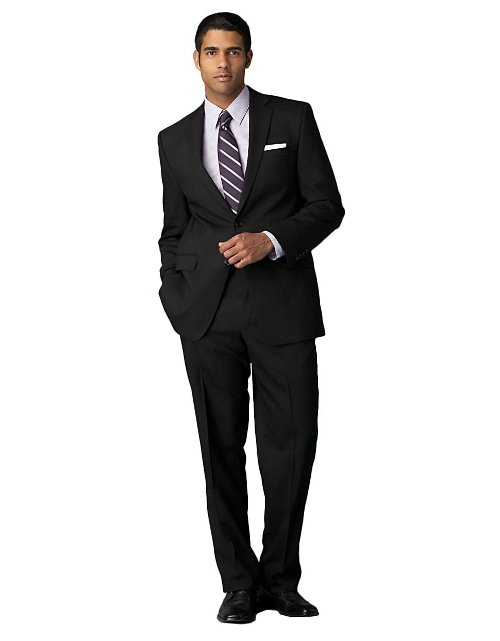 Modern Fit Black Solid Wool Suit by Calvin Klein in Absolutely Anything