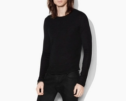 SIlk Cotton Fine Ribbed Crewneck Shirt by John Varvatos in Shadowhunters