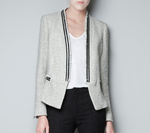 Knitted Blazer with Metallic Lapels by Zara in Addicted