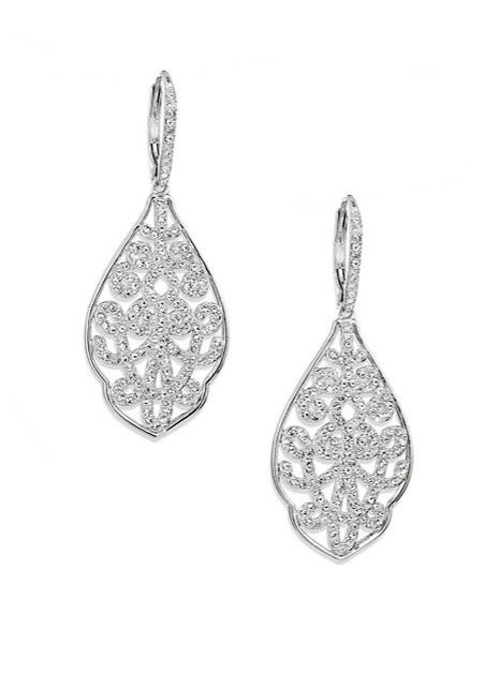 Garden Gate Pavé Crystal Filigree Large Drop Earrings by Adriana Orsini in The D Train