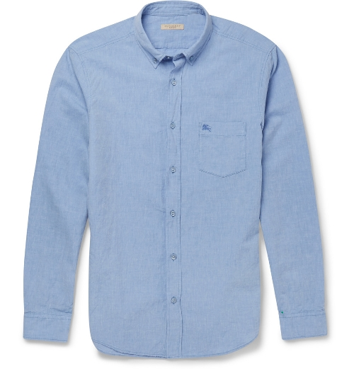 Cotton And Linen-Blend Chambray Shirt by Burberry Brit in The Gift