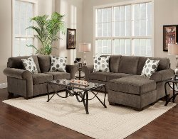 Fabric Sectional Sofa and Loveseat Set by Roundhill Furniture in John Wick
