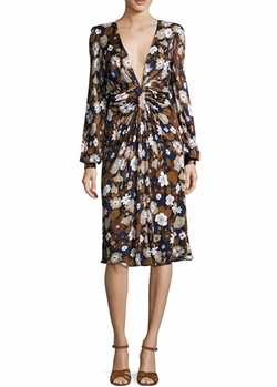 Floral Knotted Deep-V Dress by Michael Kors Collection in Empire