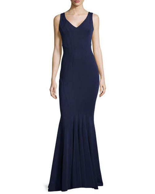 Fitted V-Neck Gown by Zac Zac in The Gift