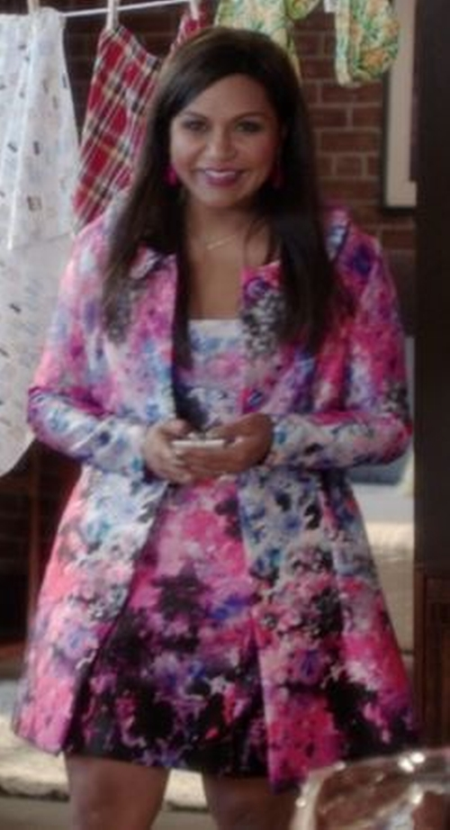Pink Watercolor Floral Coat by Salvador Perez (Costume Designer) in The Mindy Project - Season 4 Episode 7