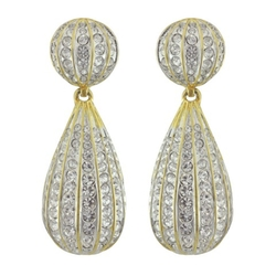 Large Crystal Button Drop Earrings by Kenneth Jay Lane in Empire