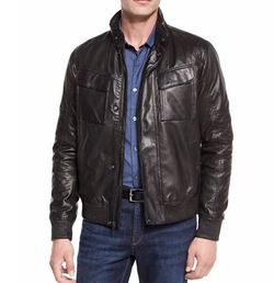 Perforated Leather Bomber Jacket by Michael Kors in Alex, Inc.