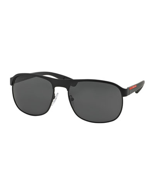 Metal-Rubber Modified Aviator Sunglasses by Prada Linea Rossa in Triple 9