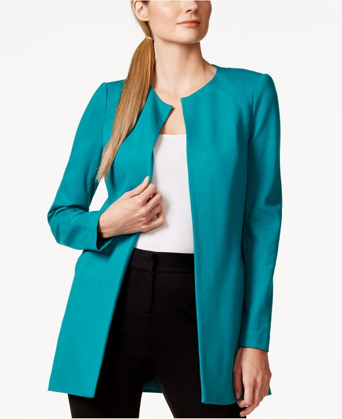 Long Ponte Open-Front Jacket by Laundry By Shelli Segal in The Good Wife - Season 7 Episode 3