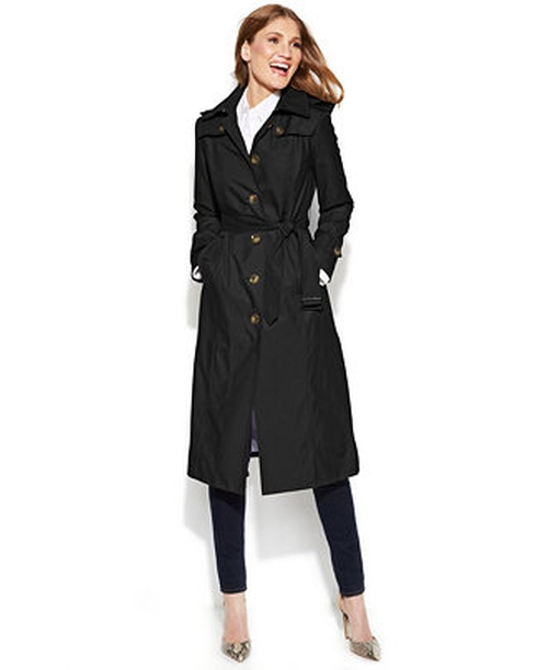 Hooded Belted Maxi Trench Coat by London Fog in A Walk in the Woods