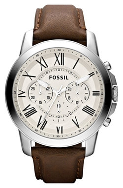 'Grant' Round Chronograph Leather Strap Watch by Fossil in Hitman: Agent 47