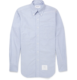 Button-Down Collar Cotton Oxford Shirt by Thom Browne in The Flash