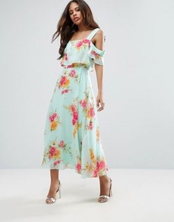 Cami Cold Shoulder Flutter Sleeve Midi Dress by Asos in The Good Place