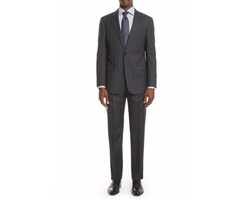Trim Fit Plaid Wool Suit by Emporio Armani in Molly's Game