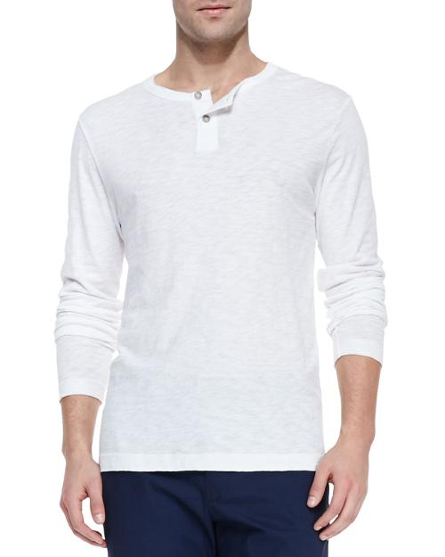 Long-Sleeve Two-Button Henley Shirt by Theory in The Giver