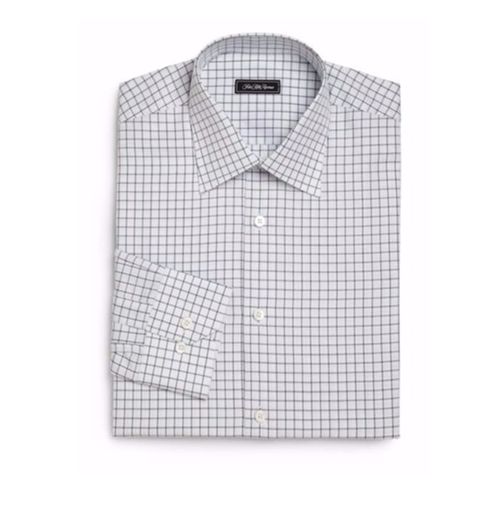 Regular-Fit Checked Dress Shirt by Saks Fifth Avenue Collection in Bastards
