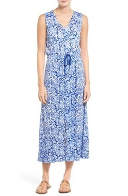 Mixed Print Sleeveless Maxi Dress by Lucky Brand in Daredevil