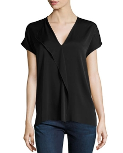 Cascading Ruffle Short-Sleeve Blouse by Vince in Fight Club