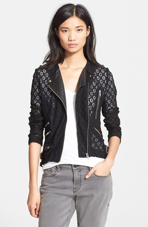Lace & Leather Jacket by The Kooples in Arrow