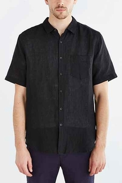 Short-Sleeve Kieran Linen Button-Down Shirt by Your Neighbors in Straight Outta Compton