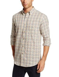 Men's Long Sleeve Plaid Heritage Twill Button Down by Arrow in Mortdecai