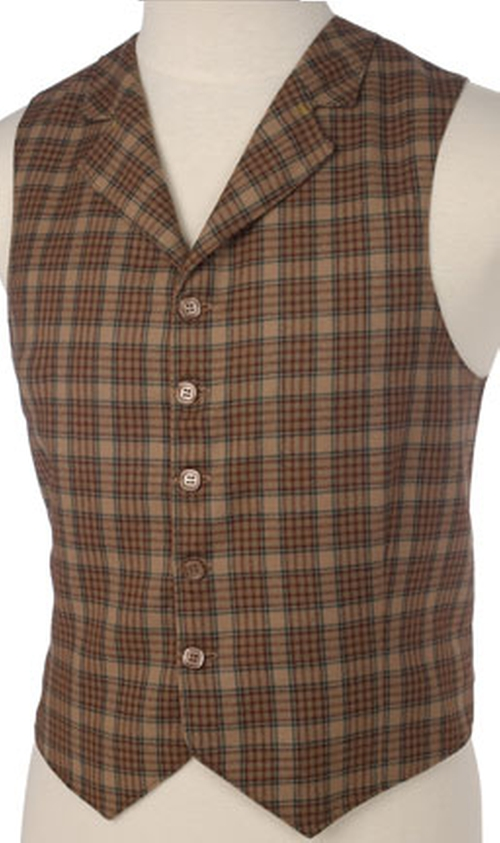 Brown Wool Plaid Mens Vest With Collar by Vested Interests in Victor Frankenstein