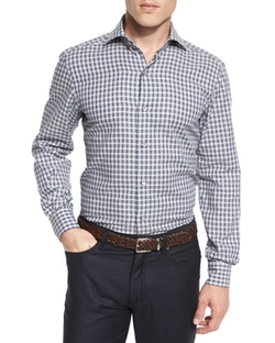 Grid-Check Sport Shirt by Ermenegildo Zegna in Ballers