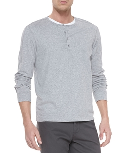 Long-Sleeve Jersey Henley Shirt by Vince in Cabin in the Woods